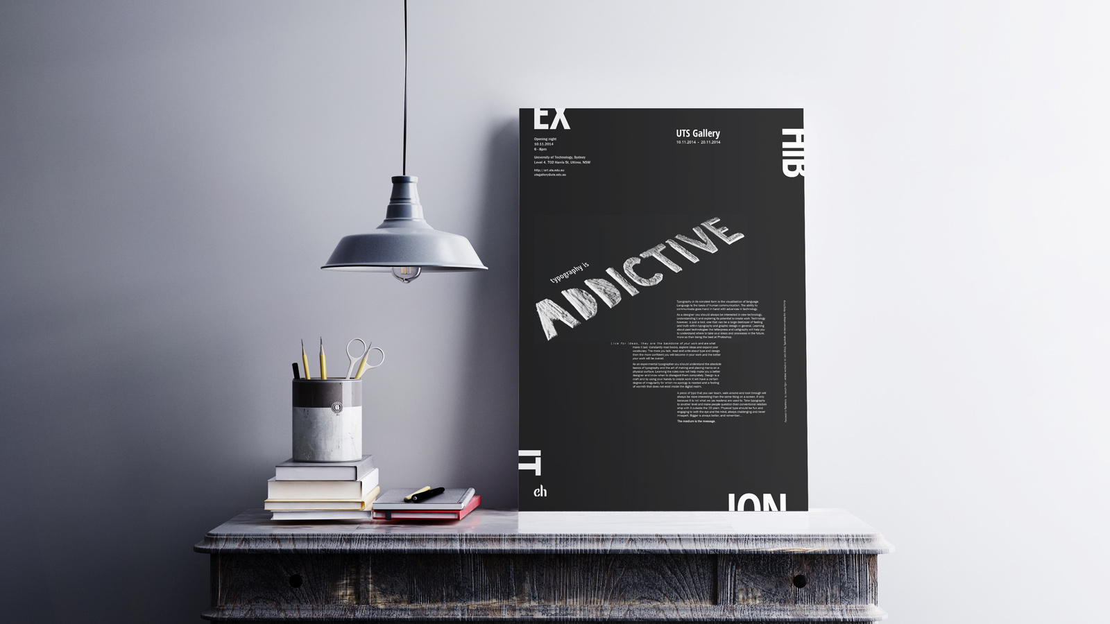 Addictive exhibition poster - desk mockup