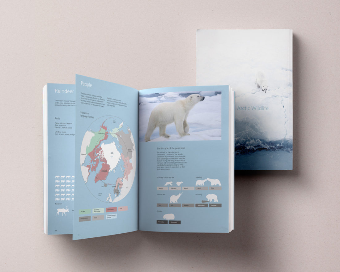 Mockup: Arctic Wildlife information visualisation book, designed by Erland Howden