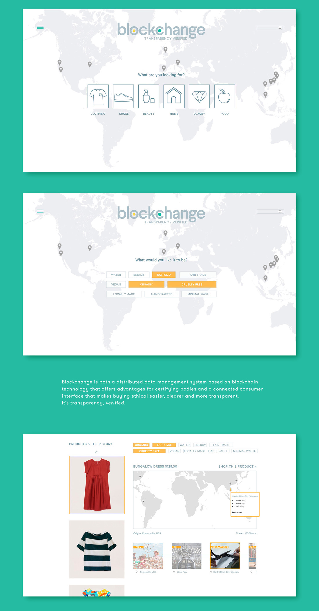 Blockchange hub mockups