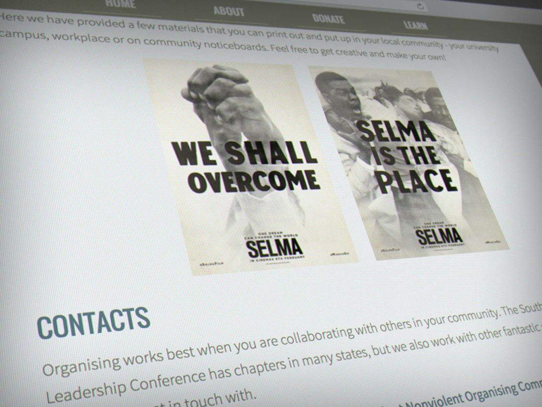 Mockup: experimental Selma website, designed by Erland Howden